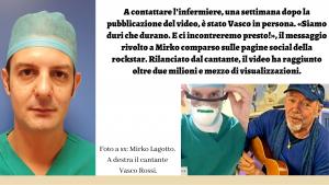 Vasco Rossi elogia pubblicamente l'infermiere Mirko Lagotto.